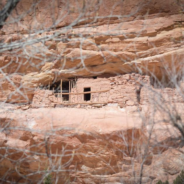 Dwelling built into sandstone cliff in Bears Ears National Monument, Utah
